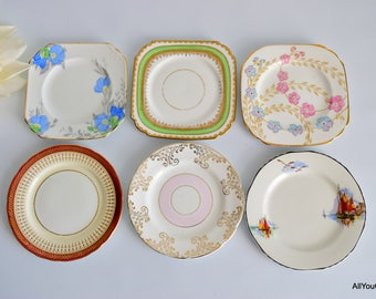 Vintage Dessert Plates, Mix and Match China Set, Vintage Bone China, Vintage China Plates, Vintage Wedding China, Vintage Cake Plate, 1950 s