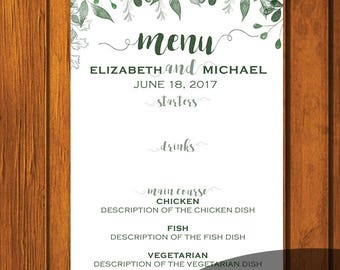 Greenery Wedding Menu / Wedding Menu / Digital File / Print At Home / 5x7