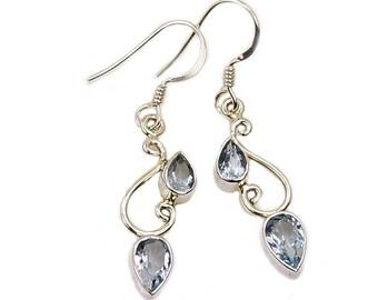 Blue Topaz Earrings & .925 Sterling Silver Dangle Earrings AF362 The Silver Plaza