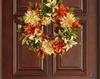 Fall Wreaths |  Dahlia & Lily Wreath | Autumn Wreath | Front Door Wreaths | Outdoor Wreath | Fall Door Decorations