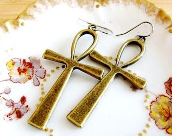 Egyptian Ankh Charm Earrings Bronze Tone
