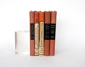 Vintage Book Set - Modern Library Books - Decorative Book Bundle - Red & Black Decor - Home Library Decor - Old Books -Literary Gift Idea