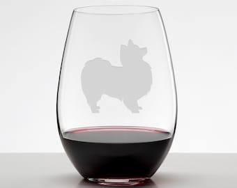 Pomeranian Wine Glass, Pomeranian Gift, Etched Stemless Wineglass
