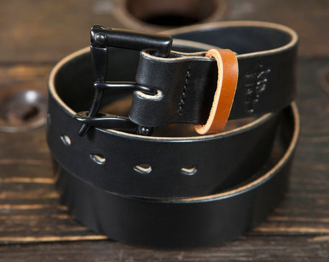 """1.5"""" Black Quick Release Belt with Contrasting Brown Bridle Keeper- Hand stitched with Black thread"""