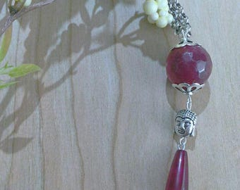 Buddha Zen Meditation necklace with red stones