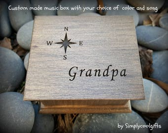 music box, compass, gift for grandpa, grandpa gift, music box for grandpa, fathers day gift for grandpa, custom made music box, personalized