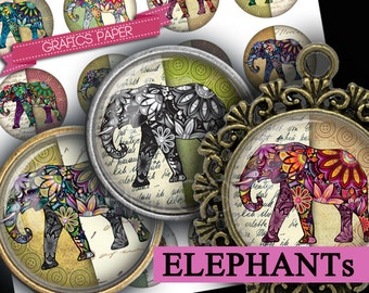 "Digital collage sheet - Elephants - Cabochon images 1.5"", 1.25"", 30mm, 1 inch circle Printable images Instant download bottle caps td316"