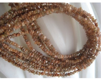 Orange Rough Diamonds - Natural Raw Uncut Diamond Beads - 3.5mm To 1.5mm - 16 Inch Strand