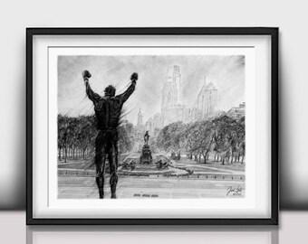 Rocky Balboa - Rocky Poster - Philly Art - Rocky Decor - Philadelphia Skyline - Sylvester Stalone - Rocky Steps - Limited Edition 20x24