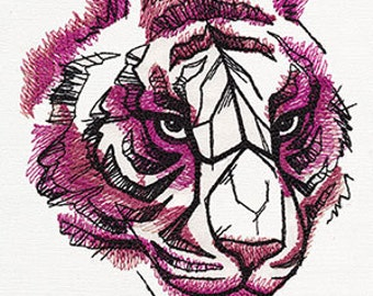 Sketchy Tiger Embroidered Flour Sack Hand/Dish Towel