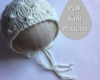 PDF Knit Pattern #0022 The Zolie Knit Bonnet, Newborn, Knit PDF Pattern, Tutorial, Knit Pattern, Beginner, Easy,Instruction,Newborn