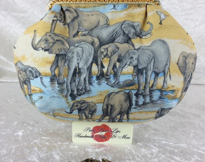 Elephants small frame handbag purse bag fabric clutch shoulder bag frame purse kiss clasp bag Handmade African Safari Waterhole
