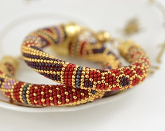 Vinyard - Bead Crochet Bracelet  Beaded Luxury Bracelet Beadwork Bracelet Multi-Colored Colorful  Beadwork Geometric Jewelry