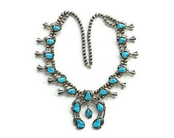 Native American Navajo Morenci Turquoise Sterling Squash Blossom Necklace Signed Y & R Charley