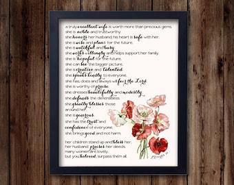 Proverbs 31 Woman- inspirational print, bible verse, scripture, Christian art print (8x10 print)