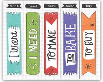 Smash flags., K&Co., I Want, I Need, To Make, To Bake, To Buy, for planners, smash books, junk journal, orange, purple, dividers/bookmarks
