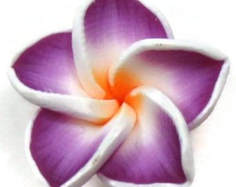 20mm Purple Polymer Clay Plumeria Flower Beads set of 4 (PO5)