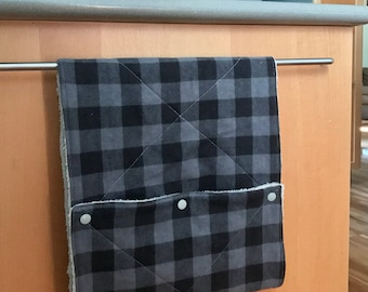 Cloth UnPaper Towels Buffalo Plaid Black and Gray Flannel and Terry Cloth Set of 10