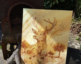 Prince of the Forest (Original Acrylic Painting on Canvas, Stag, Deer)