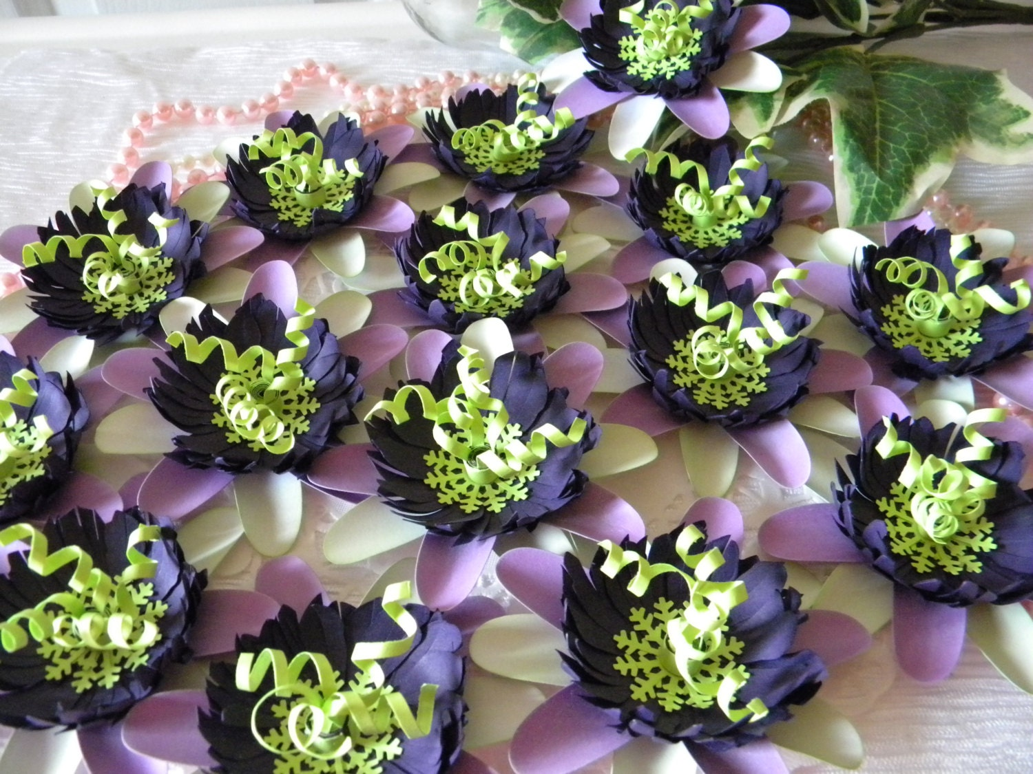 Paper Flowers Purple-Lime Green-White Passion Flowers 25