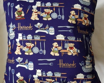 Blue Teddy Baking Harrods  Cushion Cover
