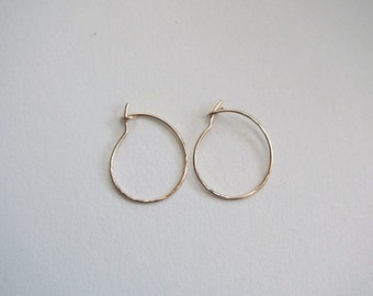 Very Small Gold Hoop Earrings .75 inch Thin Small Hoop Earrings Gold Filled Hoop Earrings Hammered Hoop Earrings Small Hoops