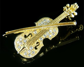 Swarovski Crystal MUSIC musical Fiddle VIOLIN Bow Gold Tone Pin Brooch Jewelry Christmas Birthday Orchestra Best friends Musican Gift New