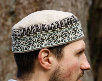 Ethnic motif mixed fabric pillbox kufi/kuchi hat