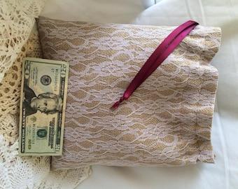 Money Dance Bags,Burlap Dollar Dance Bag (Ribbon colors Available)