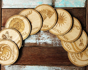 Game of Thrones Coasters set, High Quality Engraved on round wood shape.