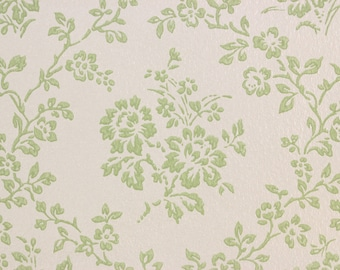S Vintage Wallpaper Green Rose Bouquets On White By The Yard