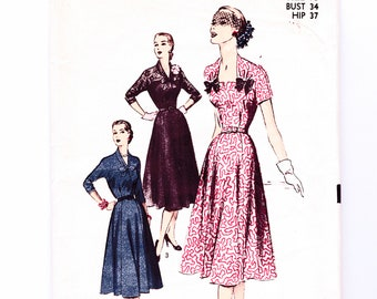1950s Sewing Pattern Advance Size 16 Bust 34 Lace Yoke Fit and Flare Day or Evening Dress Pattern UNCUT