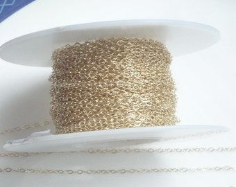 2x1.5mm 14K Gold Filled cable  chain,Available in 3FT,5FT and 10FT lenghts