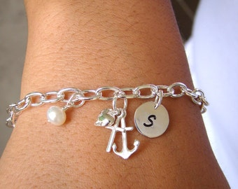 Faith Hope Love Charm Bracelet Heart Cross Anchor Chain Link 925 Sterling Silver - Personalized Jewelry