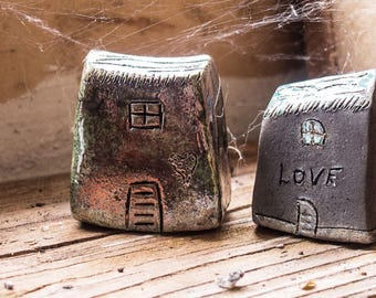 Handmade Raku fired Ceramic houses with silver, gold  and copper glazes, Hand sculpted and raku or earthenware fired, Raku pottery