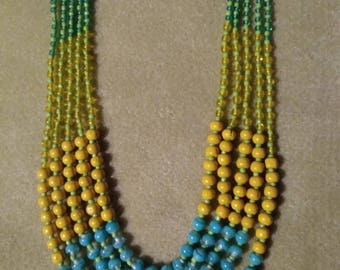Vintage Multi Strand Necklace, Five Strands Glass and Wood Beads, Blue Yellow Green, Brass Findings and Clasp, Retro Necklace Boho Access