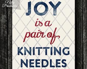Knitting Print - PRINTABLE Knitter Poster - Gifts for Knitters - Knitting Needles Wall Art & Decor - INSTANT DOWNLOAD Art Print