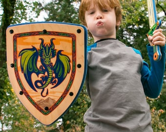 Wooden Shield - Pretend Play Toy for Kids - Handmade with Real Wood - Full Color Dragon Design
