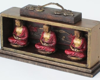 Three Buddhas, Mixed Media Assemblage Sculpture