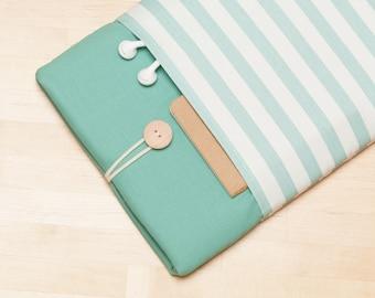 Macbook pro 15 case,  Macbook 15 sleeve, Laptop 15 inch cover, macbook 15 sleeve - Mini teal stripes