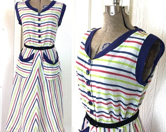 Vintage 1940s Striped Gauze Cotton Summer Dress with Pockets 36/38