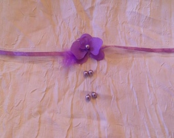 No. 347) Choker necklace Orchid and purple beads