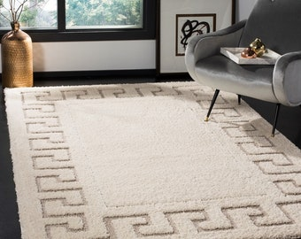"5' 1"" x 7' 6"" Cream / Beige Rectangle Plush Shag Polyester Area Rug, FREE SHIPPING"