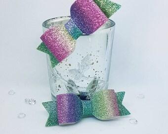 Rainbow hair bow, rainbow hair clip, girls hair bows, Toddler hair clips, Baby Girl Hair Clip, rainbow glitter Hair bow, mini hair bows