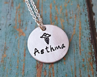 Asthma Necklace - Asthma - Medical Necklace - Medical Alert Necklace - Medical Jewelry - Asthma Alert - Asthmatic - Asthma Awareness