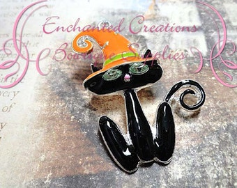 "2"" Enamel Black Cat With Orange Witch Hat, Green Rhinestone Eyes, Halloween Pendant"