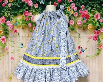 Girls Dress 2T/3T Blue Yellow Flower Pillowcase Dress, Pillow Case Dress, Sundress, Boutique Dress