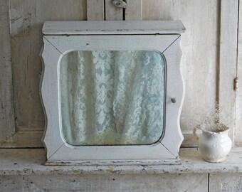 Vintage White Wooden Medicine Cabinet with Mirror, Bathroom Decor