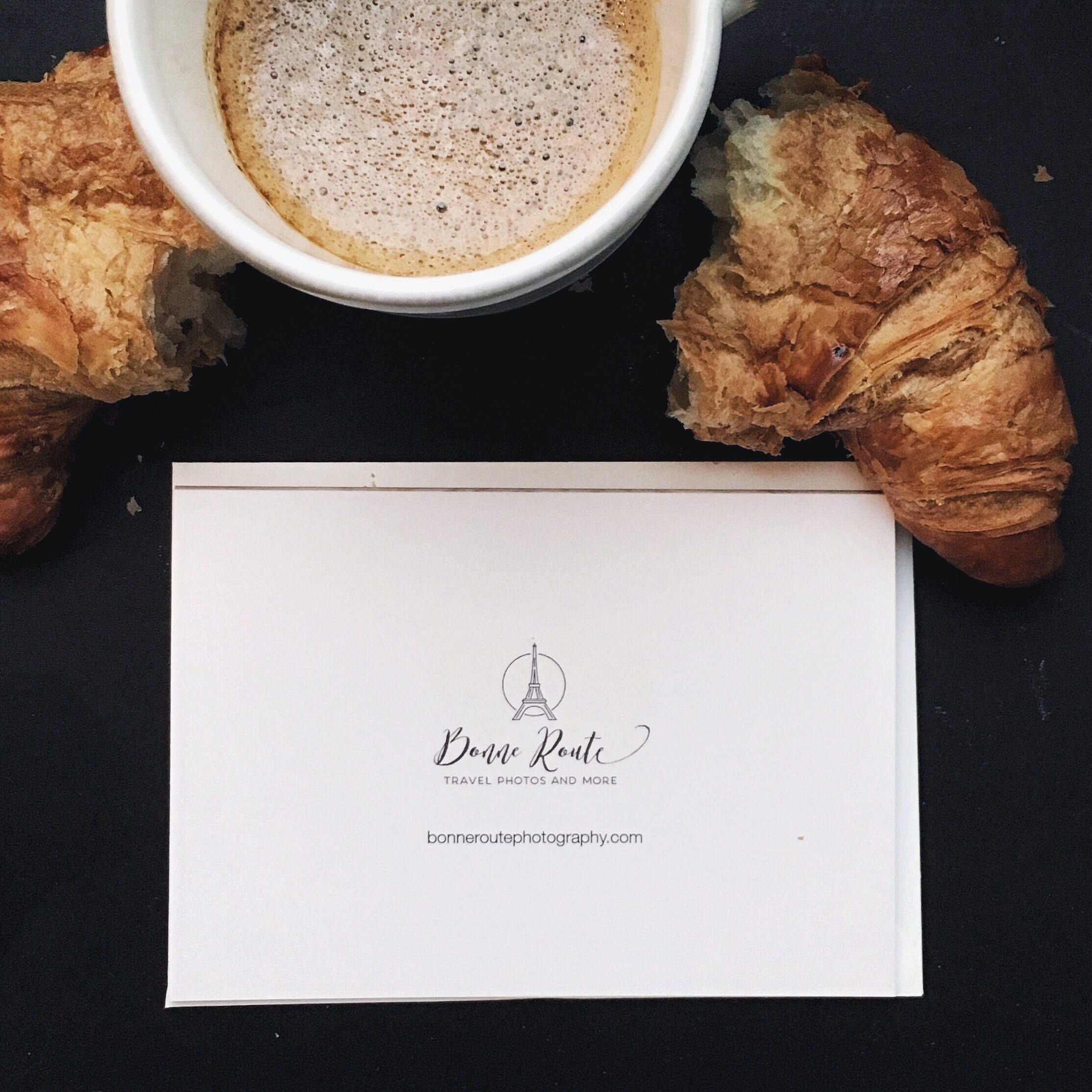 Photo Card, Greeting Card, Coffee Art, Bonjour, Cafe Creme, Blank Card,  Bonjour, French