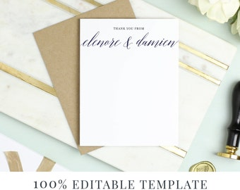 Printable Stationery Template, Printable Thank You, Word or Pages, MAC or PC, Modern Calligraphy, Instant DOWNLOAD